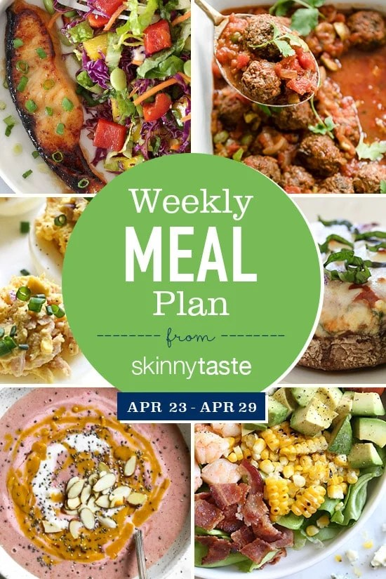 Skinnytaste Meal Plan (April 23-April 29) Skinnytaste - breakfast lunch and dinner meal plan for a week
