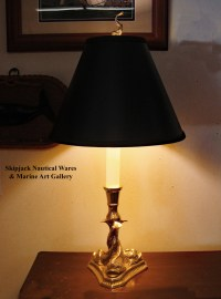 A Rococo Style Brass Dolphin Table Lamp: Skipjack Nautical ...