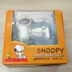 Terceiro conjunto Snoopy & Woodstock – Action Figures, em sua embalagem