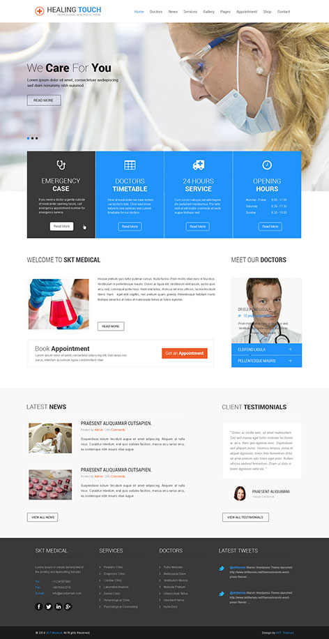 Responsive Medical WordPress theme for clinics  hospitals SKT Theme