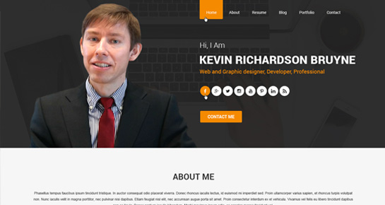 Business Card WordPress Themes for vCard, personal resume, online - resume wordpress theme