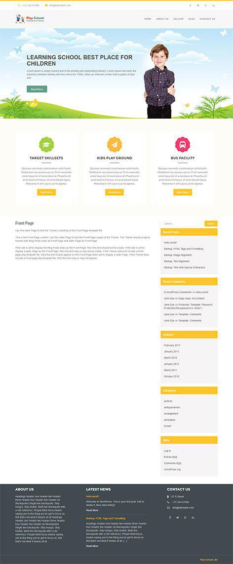 Free Education WordPress theme for educational institutions schools