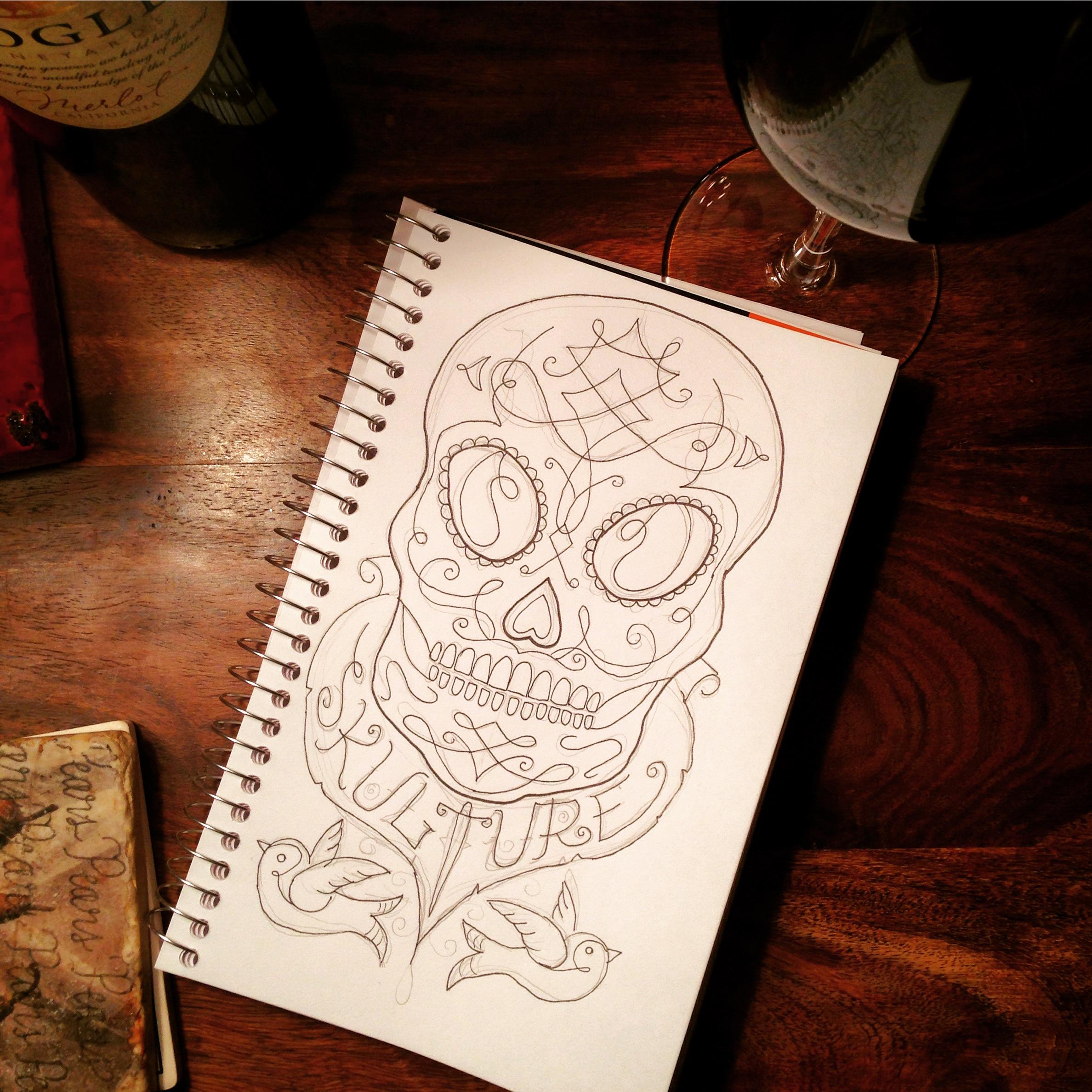 Sketchbook: Skull and bird pinstripe
