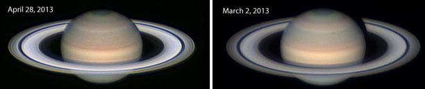 saturn s rings look bright because