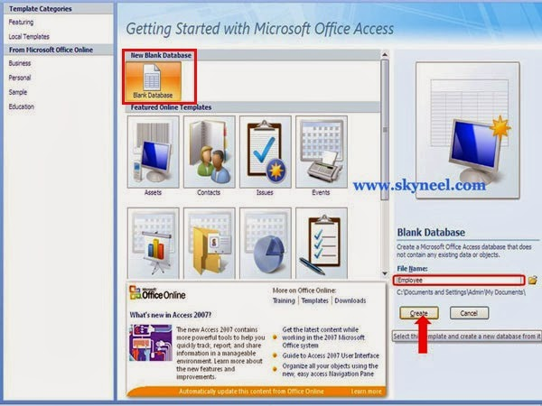 How to create database table in Ms Access