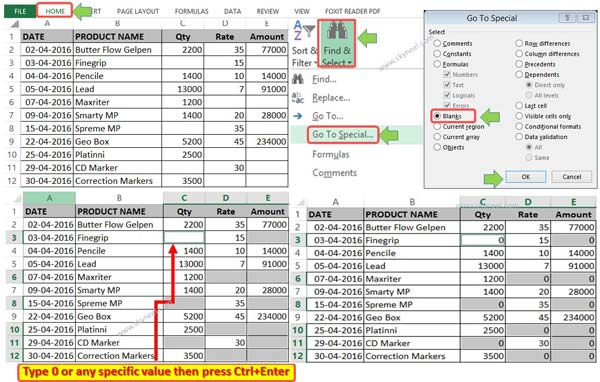 2 Ways to Fill blank cells with 0 or any specific value in Excel