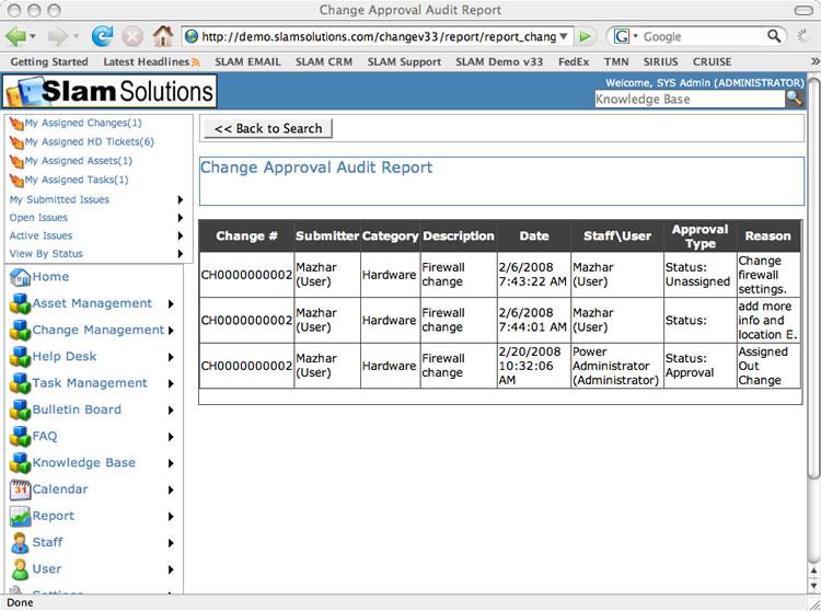 Change Management Control - Change Audit Report - audit report