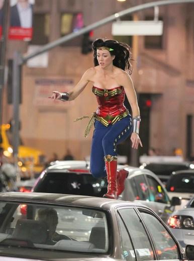 Wonder Woman in Action (stunt double set photo)