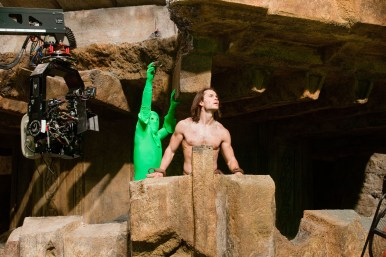 Taylor Kitsch working behind the scenes on John Carter