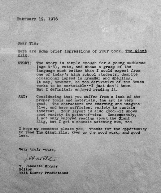 Disney's Letter to Burton
