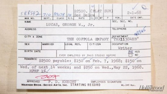 George Lucas WB Archive Payroll Memo