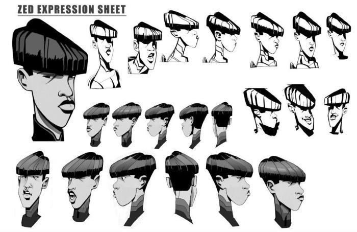TRON Uprising Concept Art - Zed Expression Sheet
