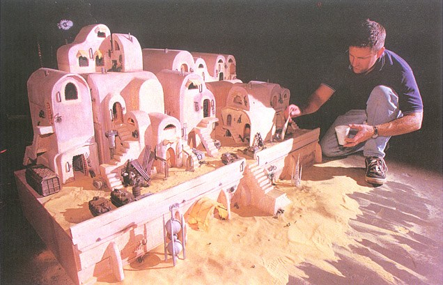 ILM vet Bill George working on a slave quarters miniature extension