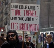 time travel protest sign