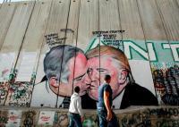 Mural depicting Trump and Netanyahu sharing a kiss pops up ...