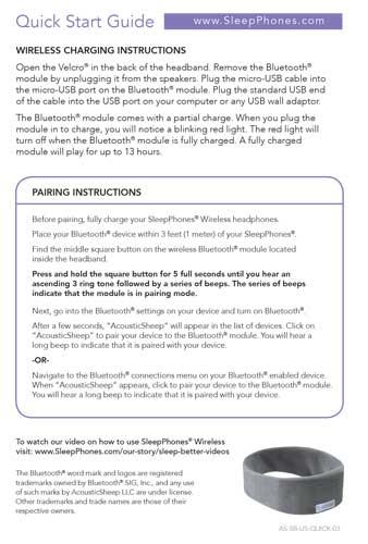 SleepPhones Comfortable Headband Headphones for Sleeping - instruction manual