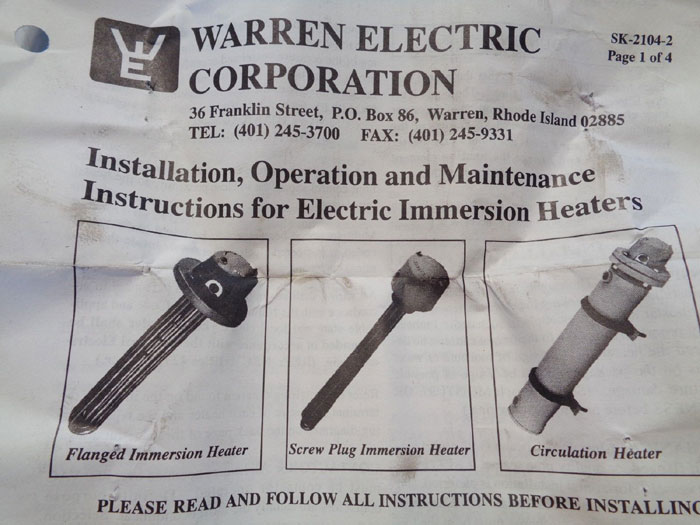 Warren Electric Screw Plug Immersion Heater Xrs 9 4 24ss3