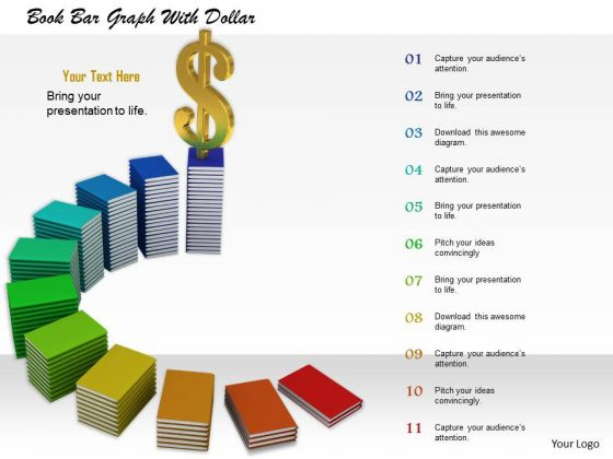 0814 Stock Photo Dollar On Top Of Books Graph PowerPoint Slide - Powerpoint Books