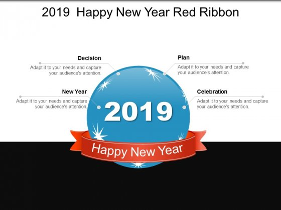 2019 Happy New Year Red Ribbon Ppt PowerPoint Presentation Summary