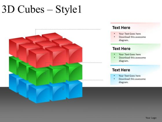 3 Layers 3d Cube Editable PowerPoint Slides And Ppt Diagrams