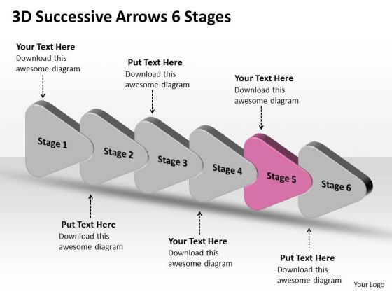 3d Successive Arrows 6 Stages Ppt Visio Templates PowerPoint Slides