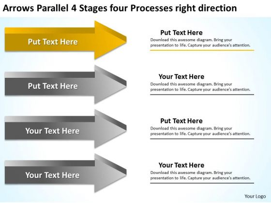 4 Stages Four Processes Right Direction Ppt Software Business Plan - software business plan template