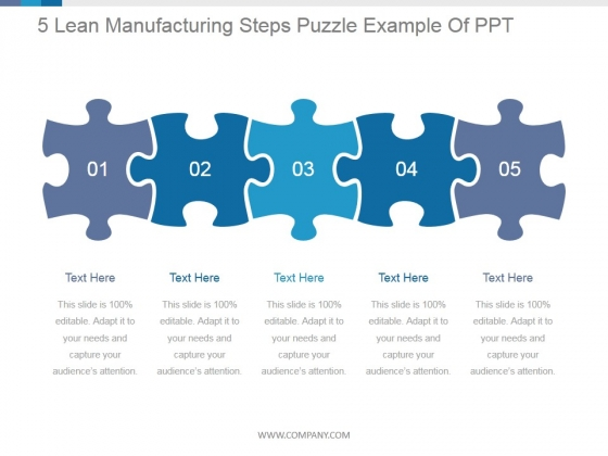 5 Lean Manufacturing Steps Puzzle Ppt PowerPoint Presentation