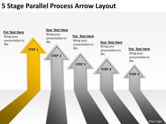 5 Stage Parallel Process Arrow Layout Consulting Business Plan