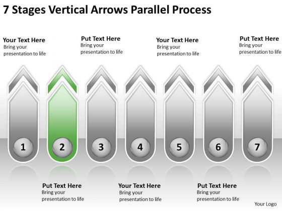 7 Stages Vertical Arrows Parallel Process Online Business Plan