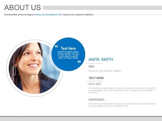 About Employee Profile And Experience Powerpoint Slides - PowerPoint