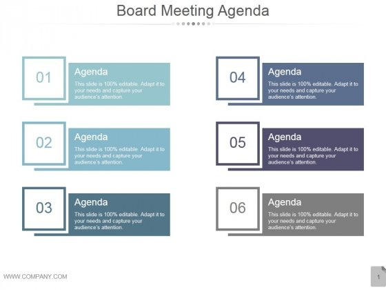 Board Meeting Agenda Ppt PowerPoint Presentation Infographic
