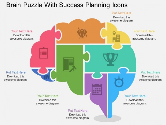 Brain Puzzle With Success Planning Icons Powerpoint Template - puzzle powerpoint template