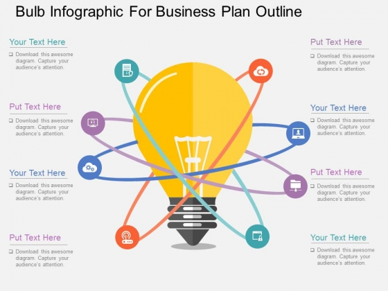 Bulb Infographic For Business Plan Outline Powerpoint Template