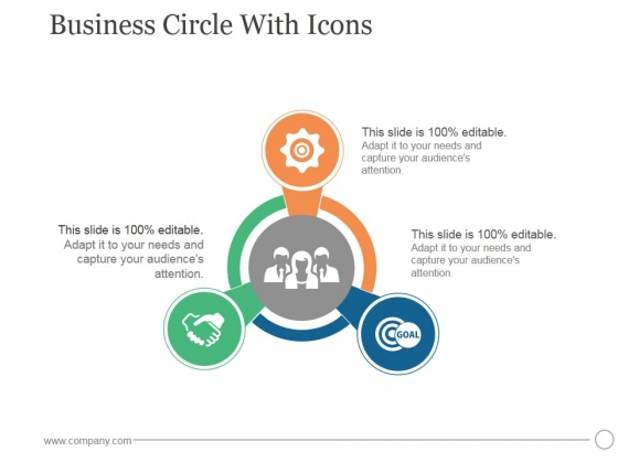 Business Circle With Icons Ppt PowerPoint Presentation Themes