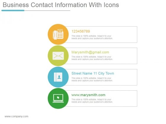 Business Contact Information With Icons Ppt PowerPoint Presentation