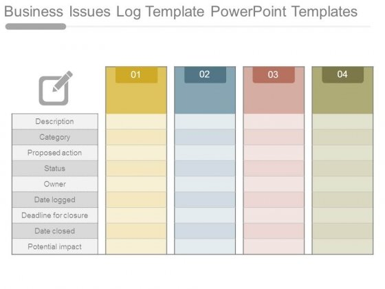 Business Issues Log Template Powerpoint Templates - PowerPoint Templates - issue log template