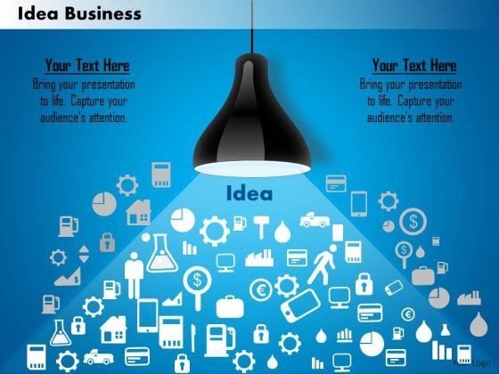 Business Diagram Bulb With Multiple Icons For Business And Sales - sales presentation template
