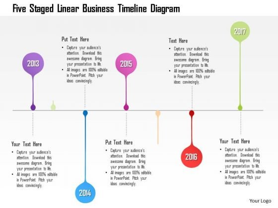 Business Diagram Five Staged Linear Business Timeline Diagram - business timeline template