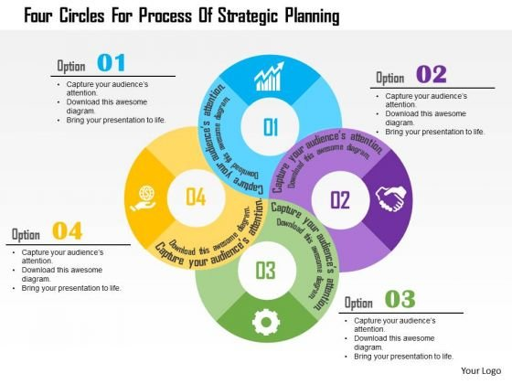 Business Diagram Four Circles For Process Of Strategic Planning