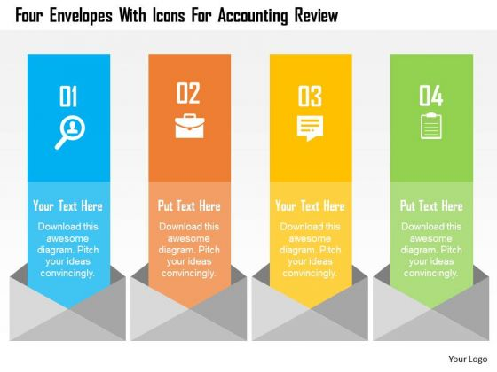 Business Diagram Four Envelopes With Icons For Accounting Review - business review template