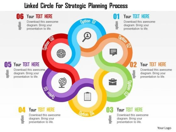 Business Diagram Linked Circle For Strategic Planning Process