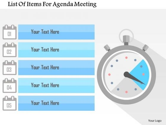 Business Diagram List Of Items For Agenda Meeting Presentation