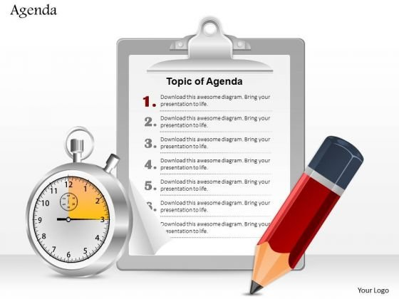 Business Diagram Pencil Clock And Notepad For Agenda Writing