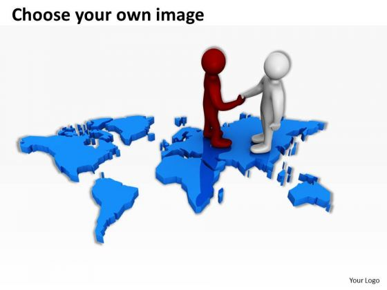 Business People Clip Art On World Map PowerPoint Presentations
