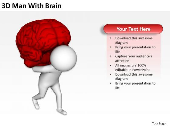Business People Vector 3d Man With Brain PowerPoint Templates Ppt