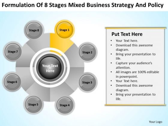 Business PowerPoint Examples 8 Stages Mixed Strategy And Policy Ppt