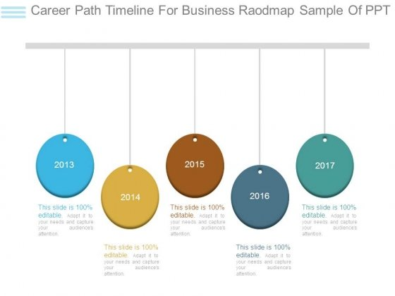Career Path Timeline For Business Raodmap Sample Of Ppt - PowerPoint