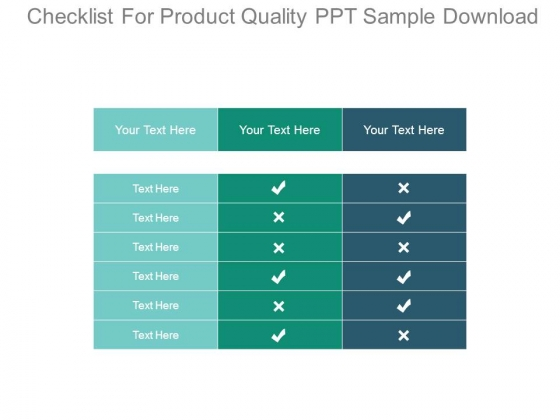 Checklist For Product Quality Ppt Sample Download - PowerPoint Templates