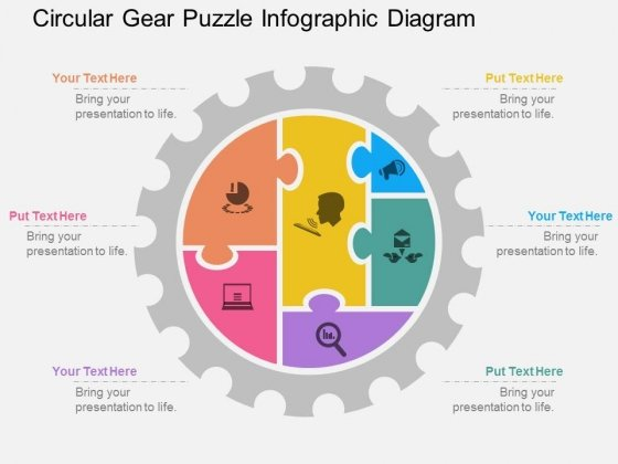 Circular Gear Puzzle Infographic Diagram Powerpoint Template