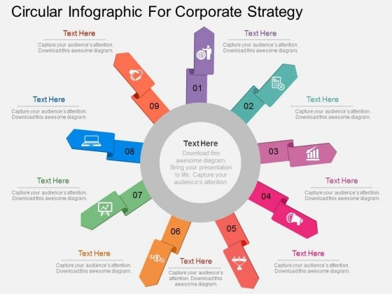 Circular Infographic For Corporate Strategy Powerpoint Template